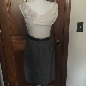 Cream and gray dress w/pearl accessory on shoulder